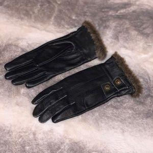 Wmns Harley Davidson Leather + Fur Gloves